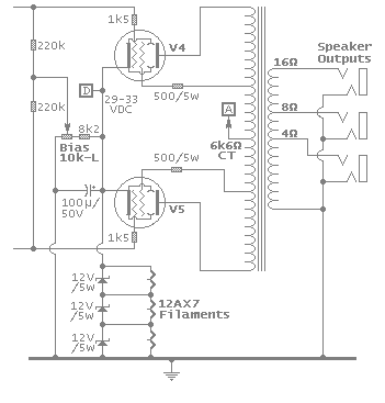 Power output stage schematic image
